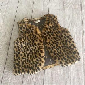 Crewcuts faux fur leopard print vest
